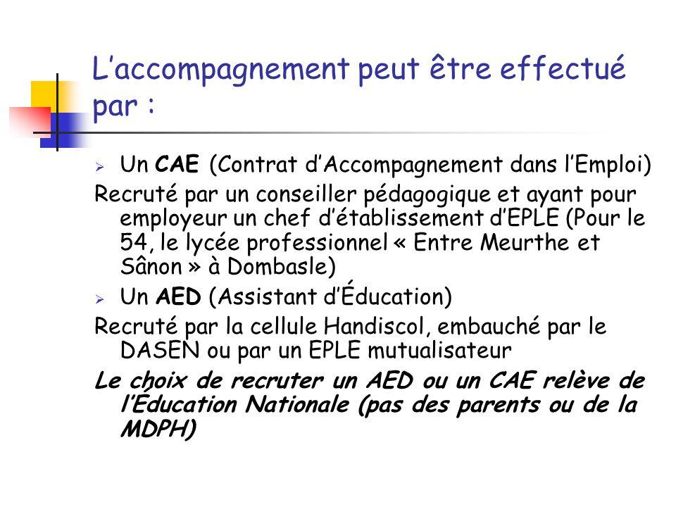 L'accompagnement peut être effectué par :  Un CAE (Contrat d'Accompagnement dans l'Emploi) Recruté par un conseiller pédagogique et ayant pour employeur un chef d'établissement d'EPLE (Pour le 54, le lycée professionnel « Entre Meurthe et Sânon » à Dombasle)  Un AED (Assistant d'Éducation) Recruté par la cellule Handiscol, embauché par le DASEN ou par un EPLE mutualisateur Le choix de recruter un AED ou un CAE relève de l'Éducation Nationale (pas des parents ou de la MDPH)