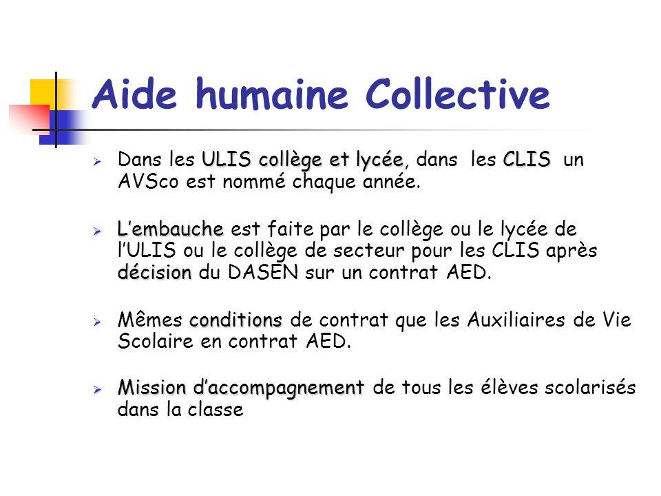 Aide humaine Collective ULIS collège et lycéeCLIS  Dans les ULIS collège et lycée, dans les CLIS un AVSco est nommé chaque année.