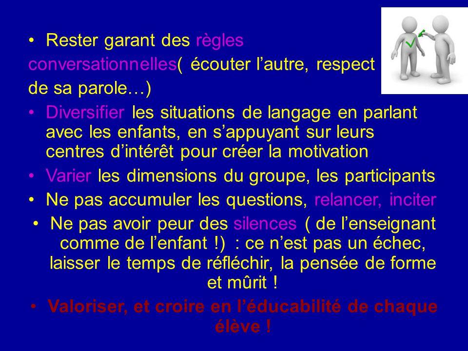 Rester garant des règles conversationnelles( écouter l'autre, respect de sa parole…) Diversifier les situations de langage en parlant avec les enfants