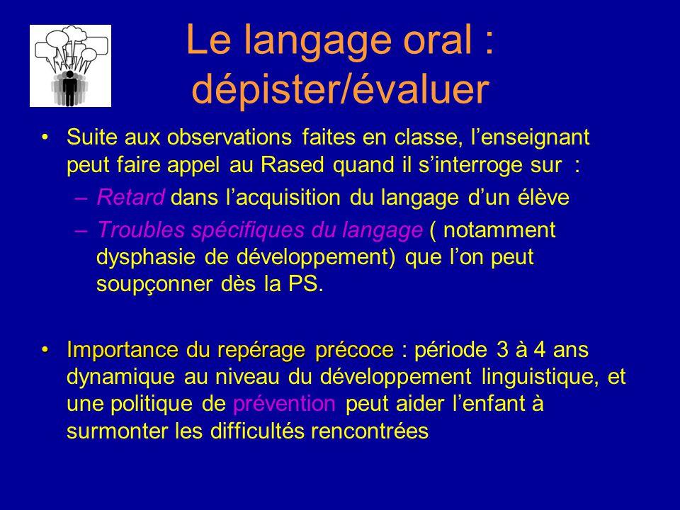 Le langage oral : dépister/évaluer Suite aux observations faites en classe, l'enseignant peut faire appel au Rased quand il s'interroge sur : –Retard dans l'acquisition du langage d'un élève –Troubles spécifiques du langage ( notamment dysphasie de développement) que l'on peut soupçonner dès la PS.