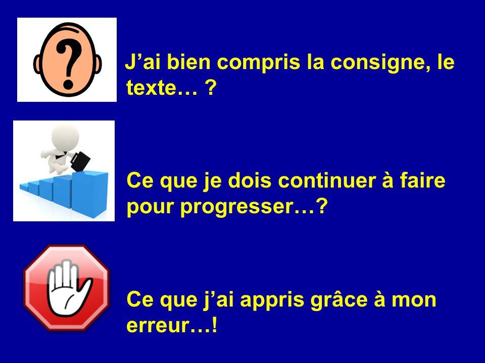 J'ai bien compris la consigne, le texte… ? Ce que je dois continuer à faire pour progresser…? Ce que j'ai appris grâce à mon erreur…!