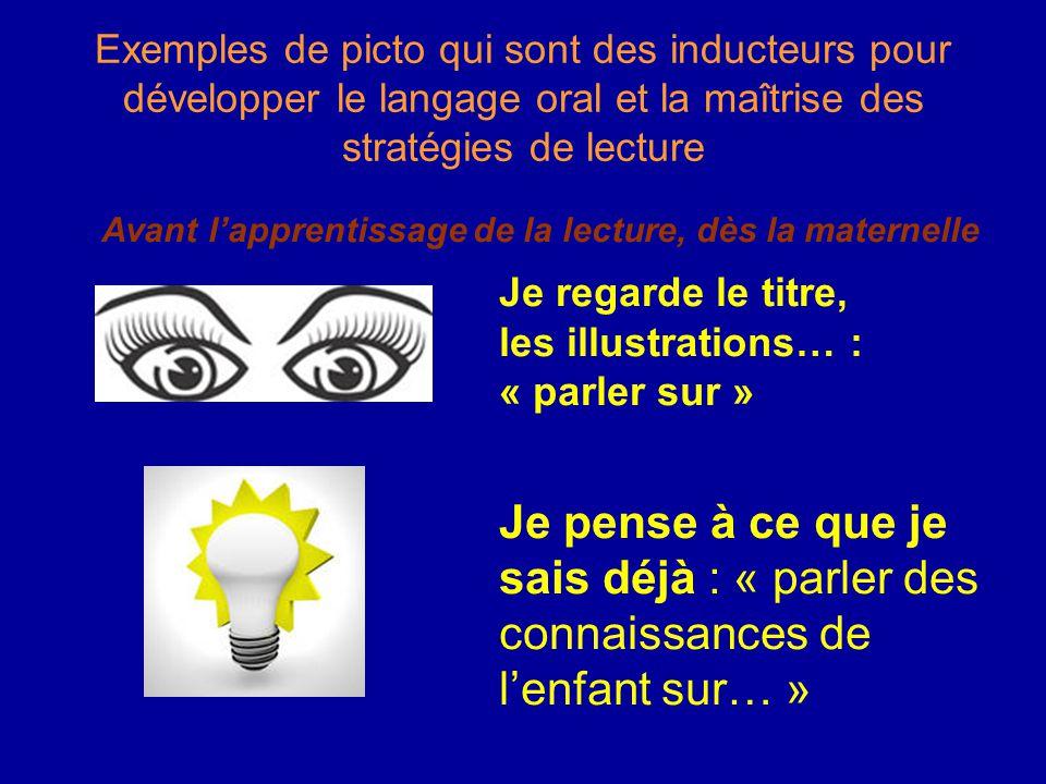 Exemples de picto qui sont des inducteurs pour développer le langage oral et la maîtrise des stratégies de lecture Avant l'apprentissage de la lecture