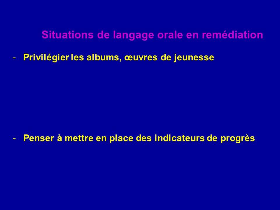 Situations de langage orale en remédiation -Privilégier les albums, œuvres de jeunesse -Penser à mettre en place des indicateurs de progrès