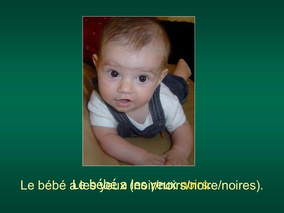 Le bébé a les yeux noirs. Le bébé a les yeux (noir/noirs/noire/noires).