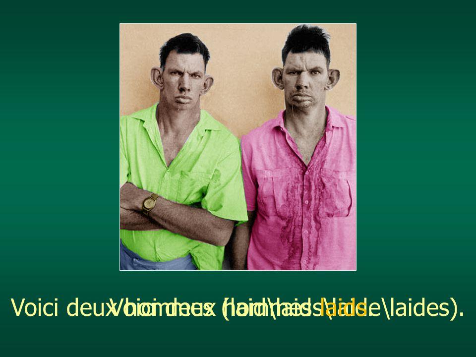 Voici deux hommes (laid\laids\laide\laides).Voici deux hommes laids.