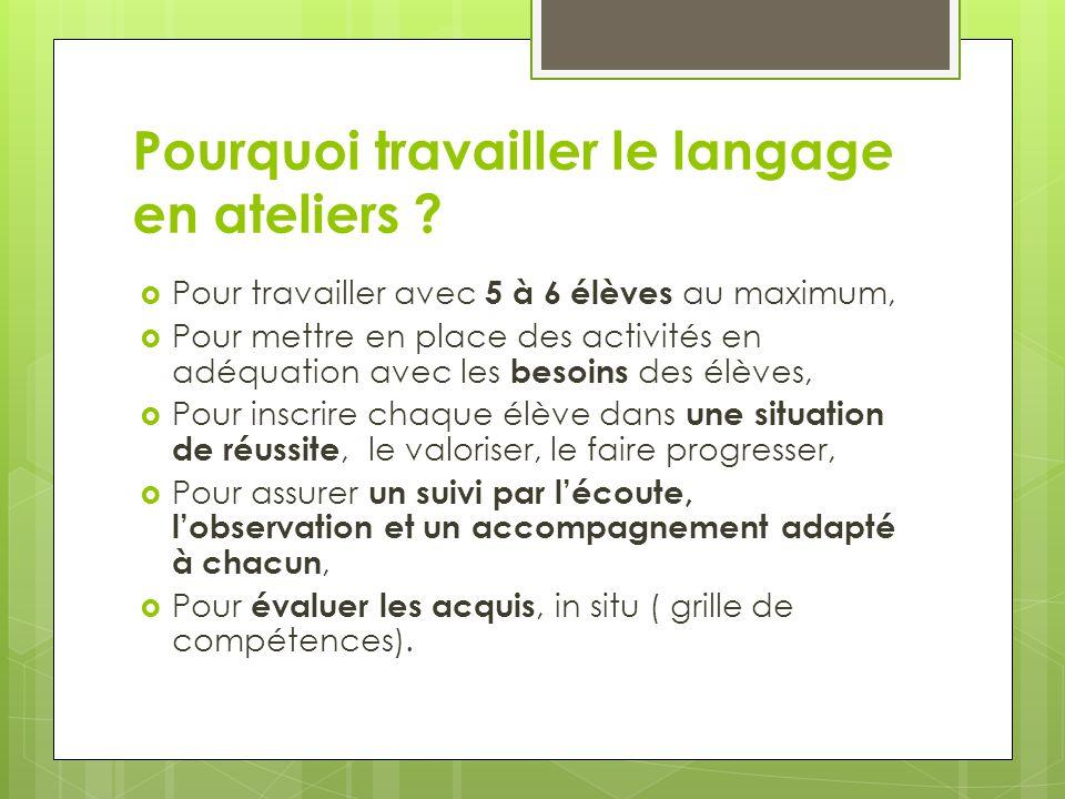 Pourquoi travailler le langage en ateliers .