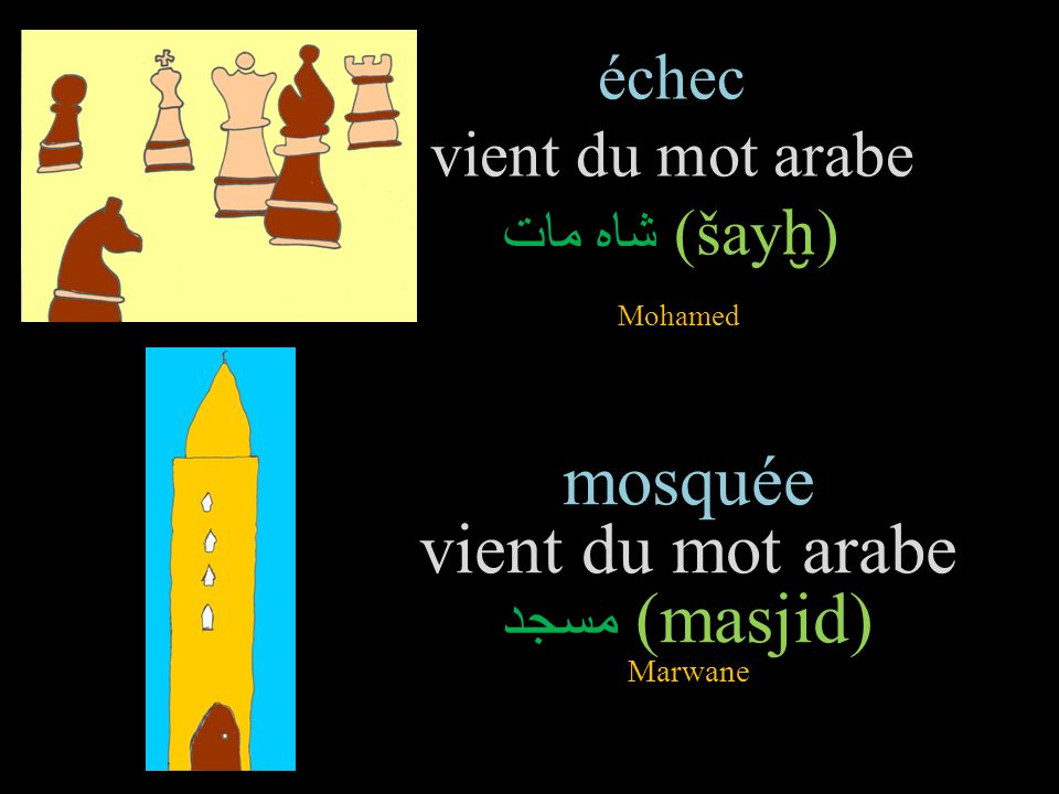échec vient du mot arabe شاه مات (šay ḫ ) Mohamed mosquée vient du mot arabe مسجد (masjid) Marwane