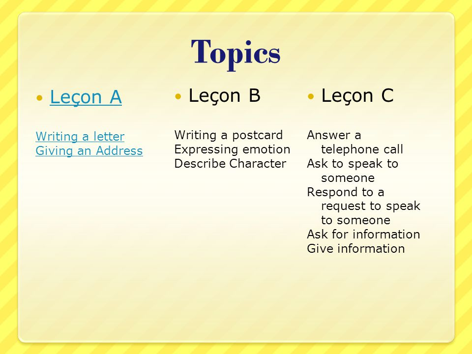 Topics Leçon A Writing a letter Giving an Address Leçon B Writing a postcard Expressing emotion Describe Character Leçon C Answer a telephone call Ask to speak to someone Respond to a request to speak to someone Ask for information Give information