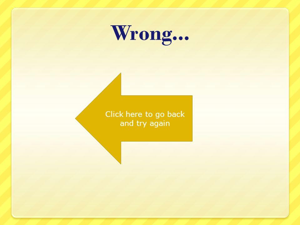 Faux Cliquez ici pour revenir en arrière et essayez à nouveau