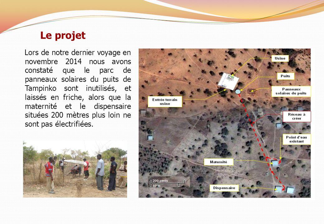 Le projet Lors de notre dernier voyage en novembre 2014 nous avons constaté que le parc de panneaux solaires du puits de Tampinko sont inutilisés, et