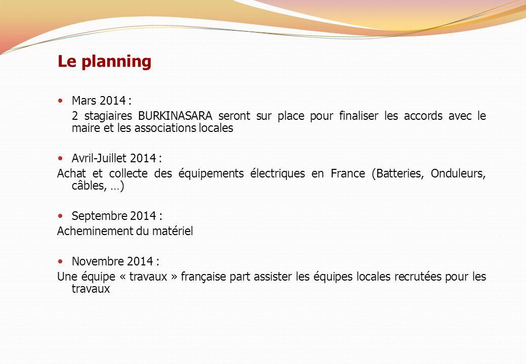 Mars 2014 : 2 stagiaires BURKINASARA seront sur place pour finaliser les accords avec le maire et les associations locales Avril-Juillet 2014 : Achat