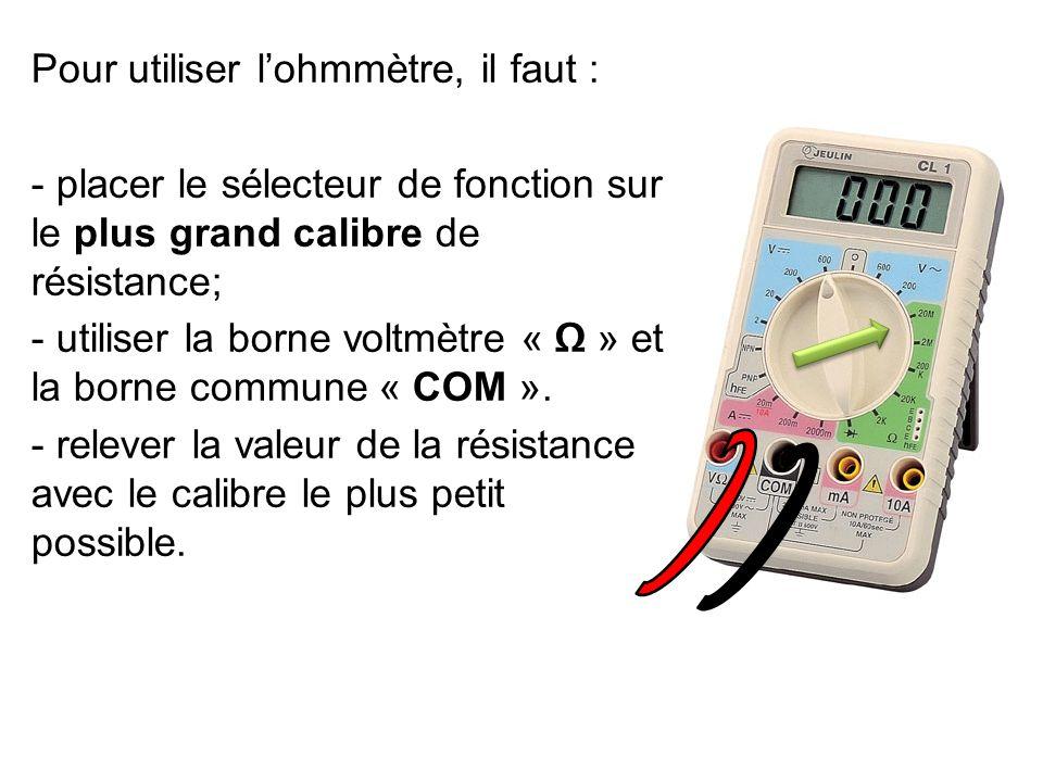 R 1 = ………………… R 2 = ………………… Conclusion: Plus la valeur de la résistance est grande, plus l'intensité du courant électrique est faible.