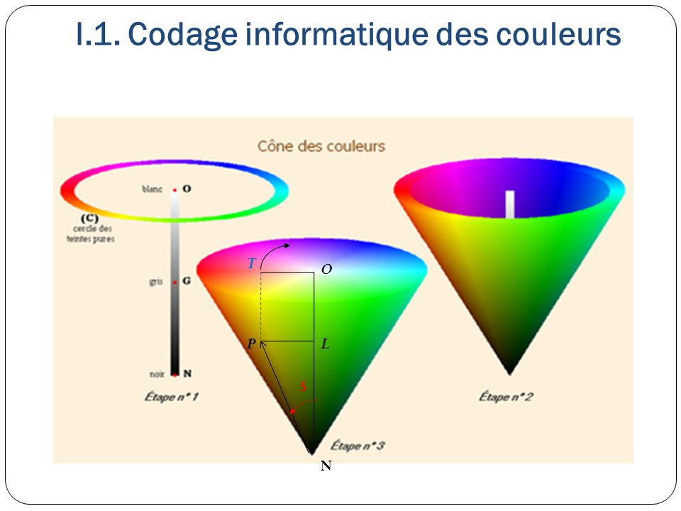 I.1. Codage informatique des couleurs O N P T S L