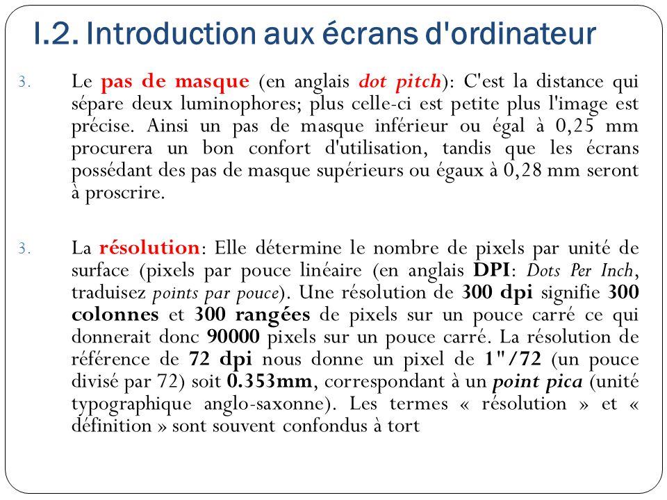 I.2. Introduction aux écrans d'ordinateur 3. Le pas de masque (en anglais dot pitch): C'est la distance qui sépare deux luminophores; plus celle-ci es