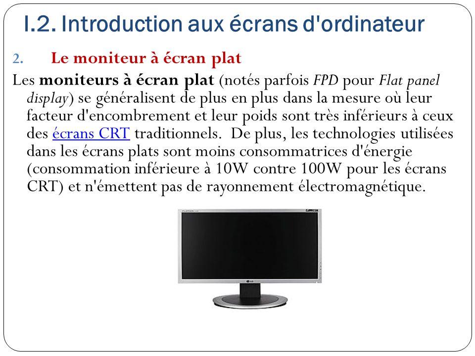 I.2. Introduction aux écrans d'ordinateur 2. Le moniteur à écran plat Les moniteurs à écran plat (notés parfois FPD pour Flat panel display) se généra
