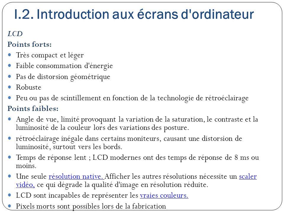I.2. Introduction aux écrans d'ordinateur LCD Points forts: Très compact et léger Faible consommation d'énergie Pas de distorsion géométrique Robuste