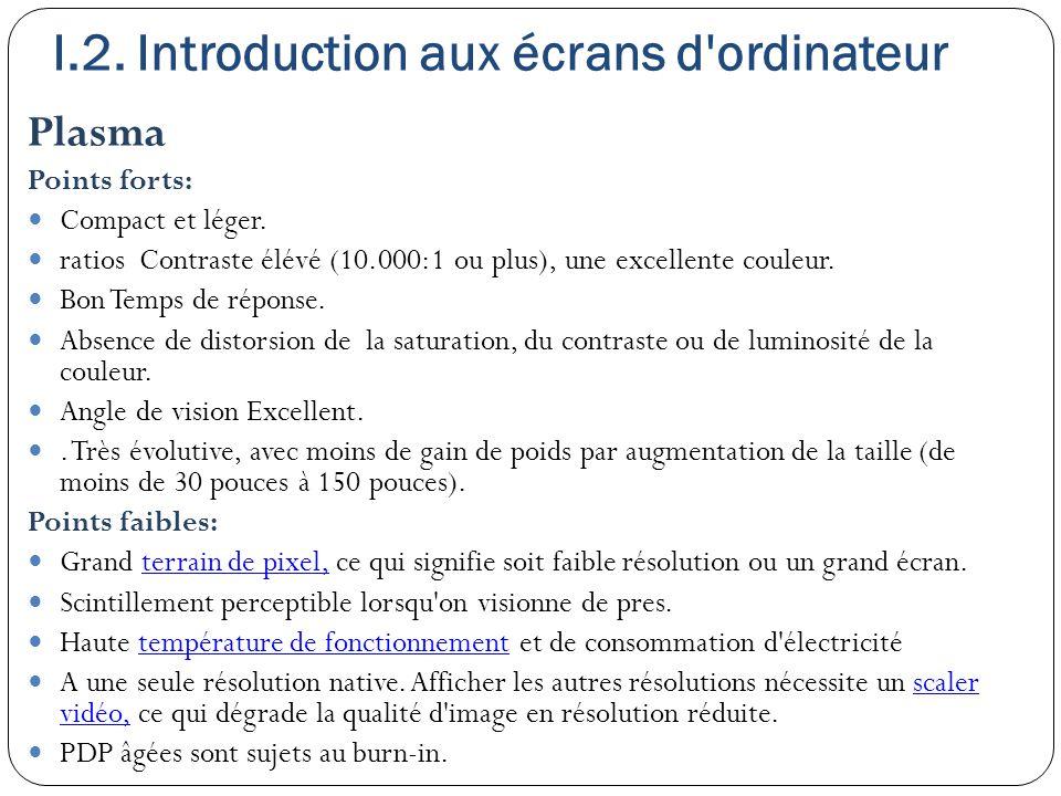I.2. Introduction aux écrans d'ordinateur Plasma Points forts: Compact et léger. ratios Contraste élévé (10.000:1 ou plus), une excellente couleur. Bo