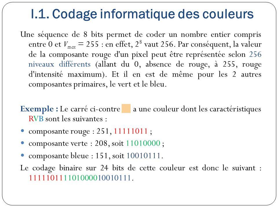 I.1. Codage informatique des couleurs Une séquence de 8 bits permet de coder un nombre entier compris entre 0 et V max = 255 : en effet, 2 8 vaut 256.
