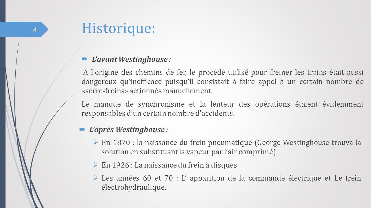 Historique:  L'avant Westinghouse : A l'origine des chemins de fer, le procédé utilisé pour freiner les trains était aussi dangereux qu'inefficace pu