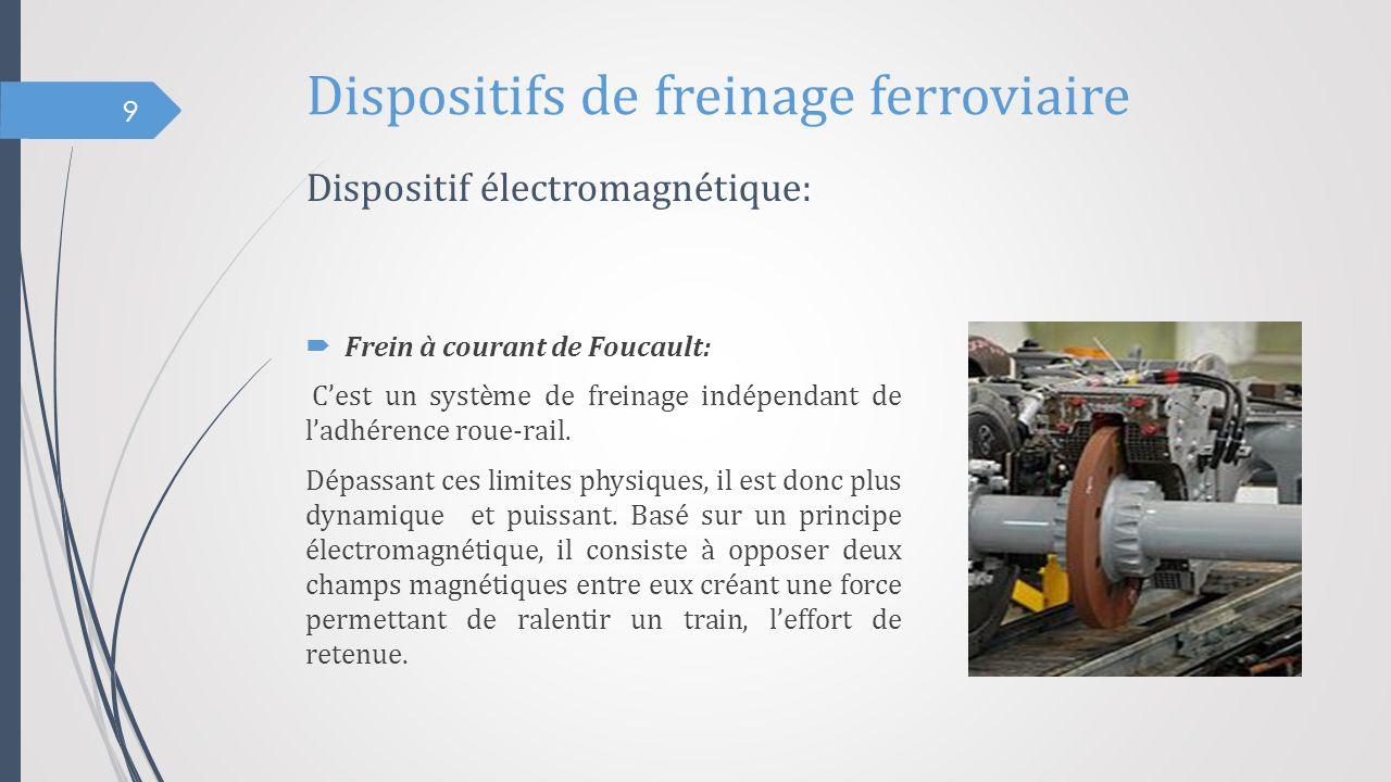 Dispositifs de freinage ferroviaire  Frein à courant de Foucault: C'est un système de freinage indépendant de l'adhérence roue-rail. Dépassant ces li