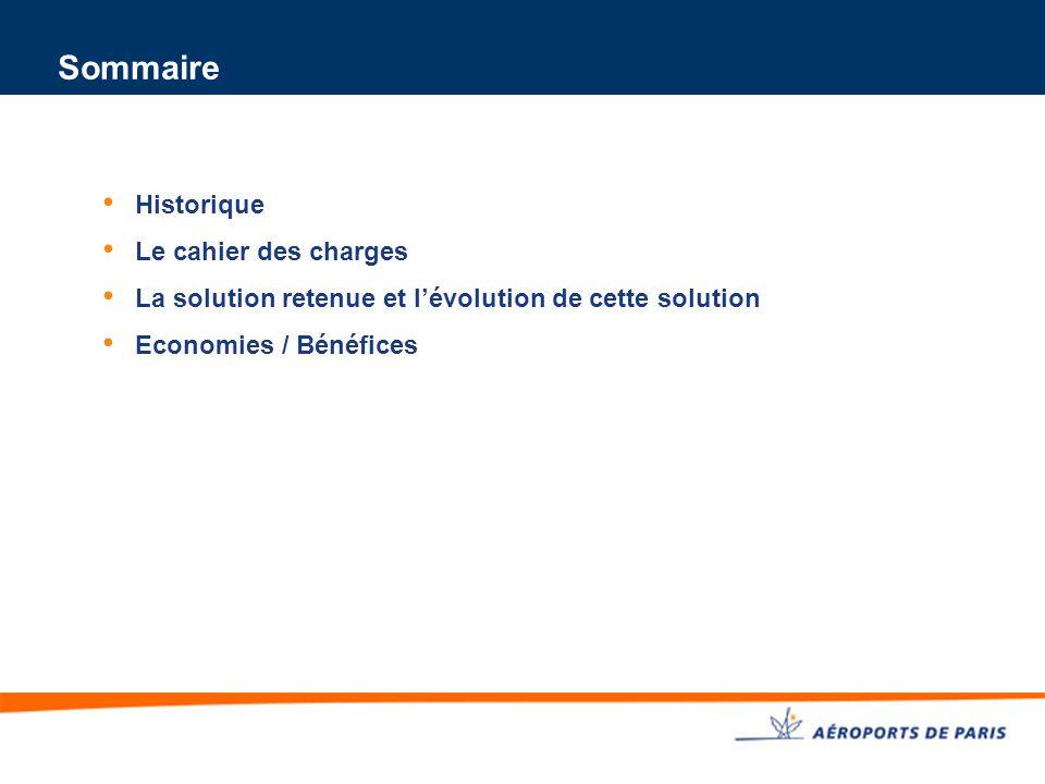 Sommaire Historique Le cahier des charges La solution retenue et l'évolution de cette solution Economies / Bénéfices