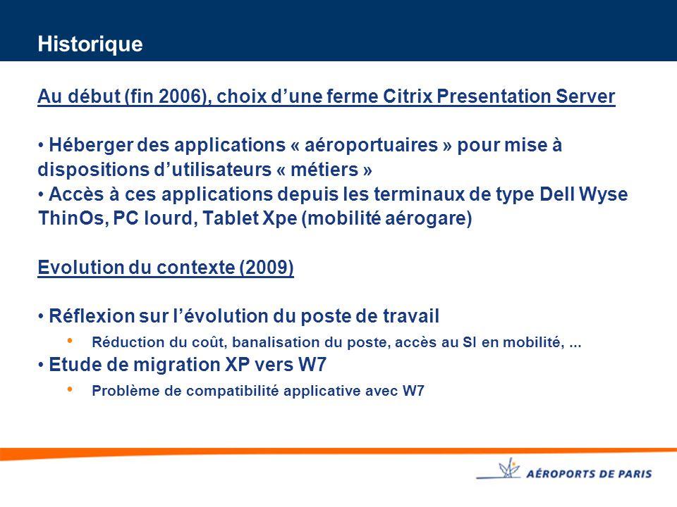 Historique Au début (fin 2006), choix d'une ferme Citrix Presentation Server Héberger des applications « aéroportuaires » pour mise à dispositions d'u