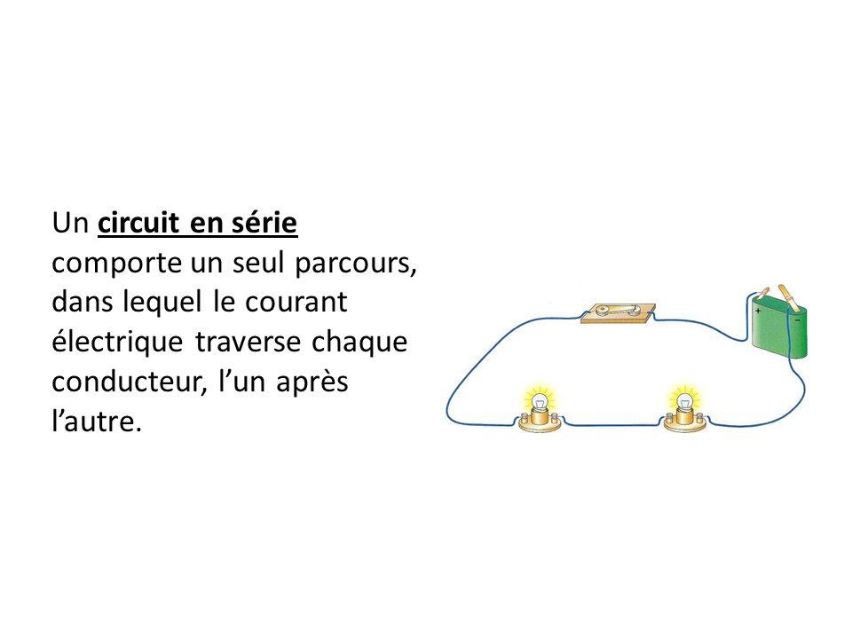 Un circuit en série comporte un seul parcours, dans lequel le courant électrique traverse chaque conducteur, l'un après l'autre.