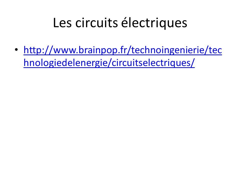 Les circuits électriques http://www.brainpop.fr/technoingenierie/tec hnologiedelenergie/circuitselectriques/ http://www.brainpop.fr/technoingenierie/t