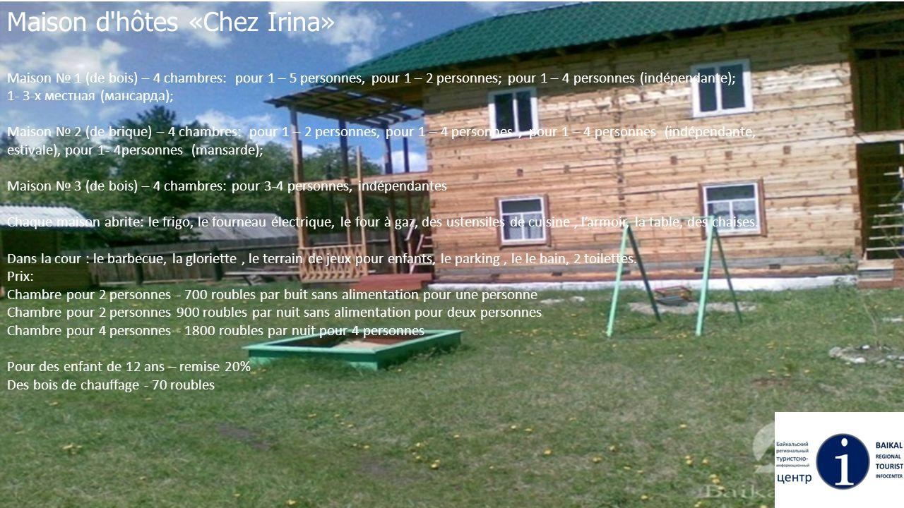 Maison d'hôtes «Chez Irina» Maison № 1 (de bois) – 4 chambres: pour 1 – 5 personnes, pour 1 – 2 personnes; pour 1 – 4 personnes (indépendante); 1- 3-х