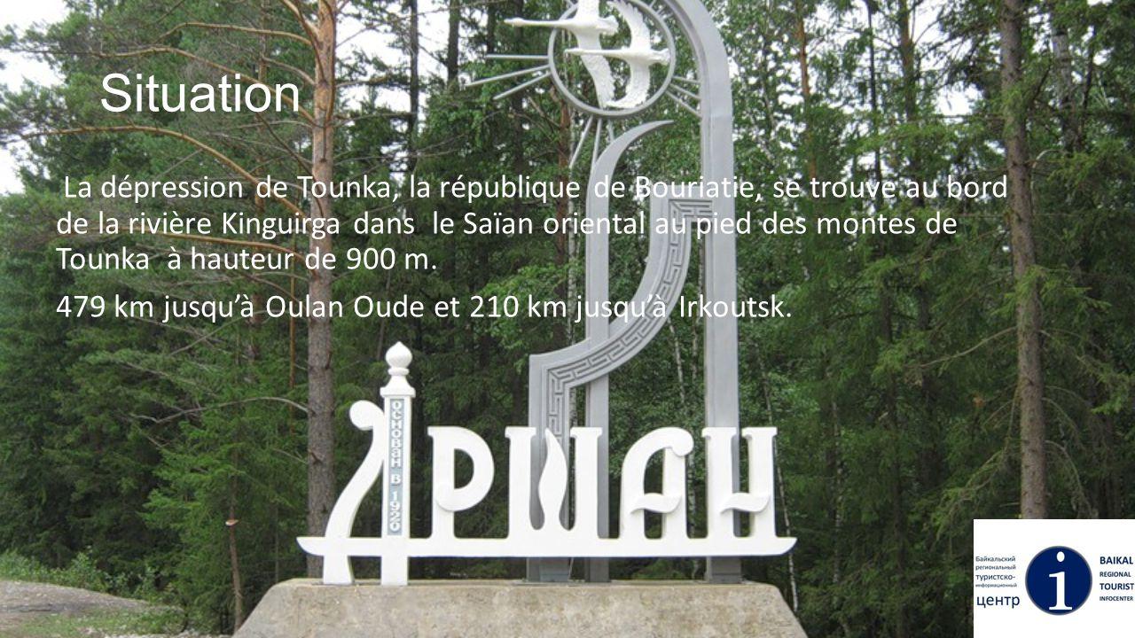 Situation La dépression de Tounka, la république de Bouriatie, se trouve au bord de la rivière Kinguirga dans le Saïan oriental au pied des montes de