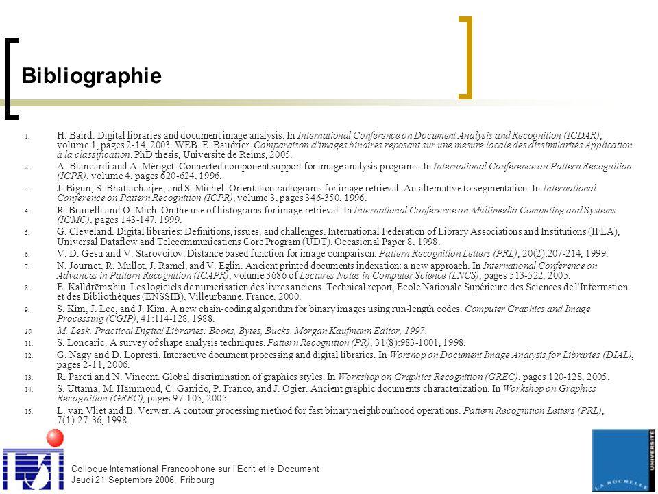 Colloque International Francophone sur l'Ecrit et le Document Jeudi 21 Septembre 2006, Fribourg Bibliographie 1.