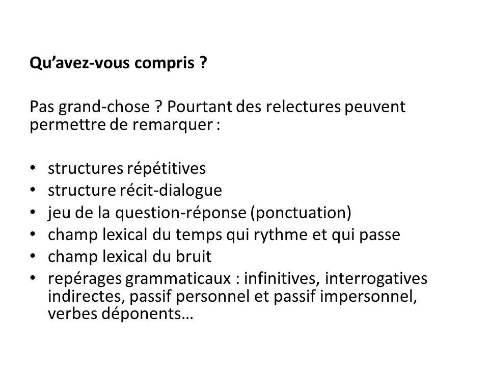 Qu'avez-vous compris ? Pas grand-chose ? Pourtant des relectures peuvent permettre de remarquer : structures répétitives structure récit-dialogue jeu