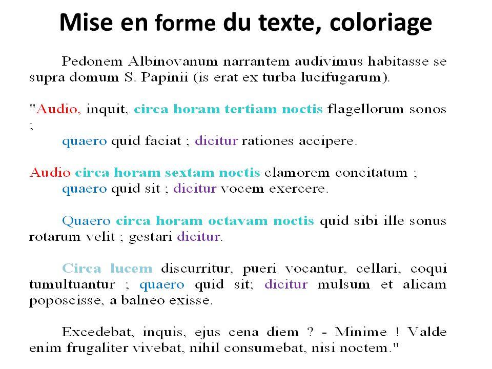 Mise en forme du texte, coloriage