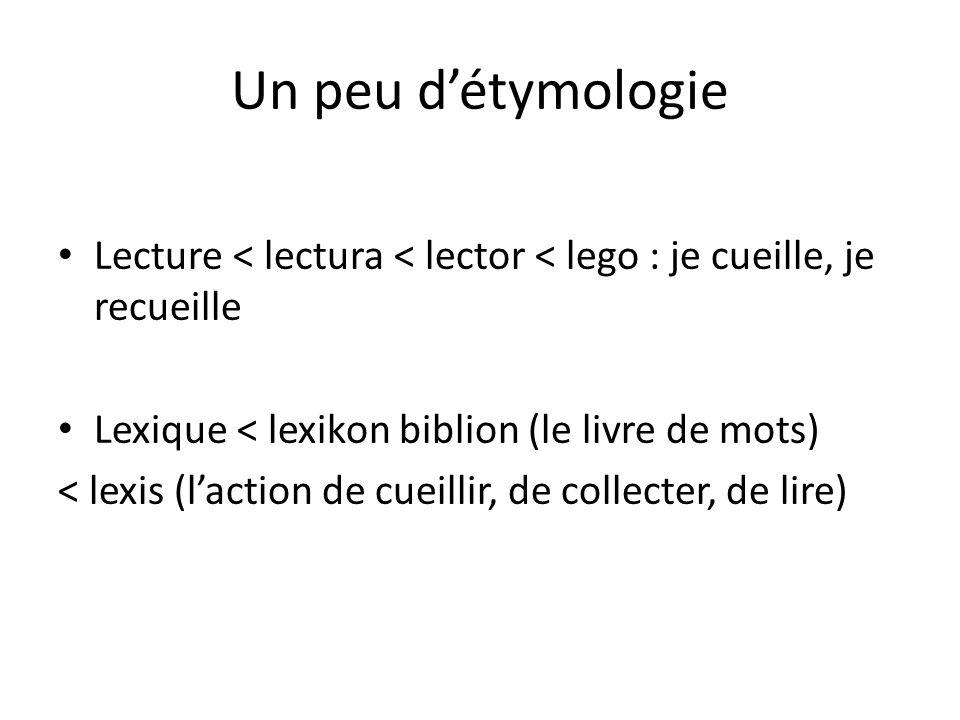 Un peu d'étymologie Lecture < lectura < lector < lego : je cueille, je recueille Lexique < lexikon biblion (le livre de mots) < lexis (l'action de cue
