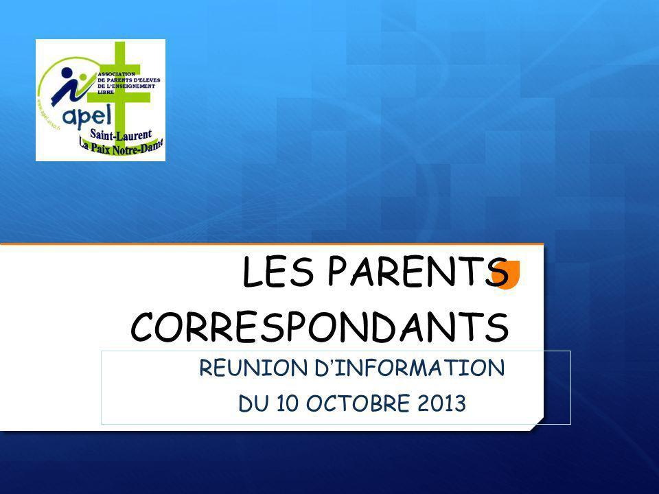 LES PARENTS CORRESPONDANTS REUNION D'INFORMATION DU 10 OCTOBRE 2013