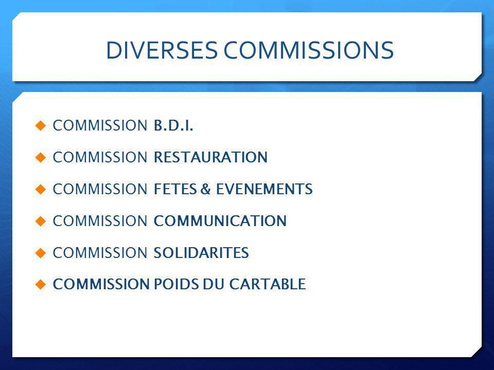 DIVERSES COMMISSIONS  COMMISSION B.D.I.