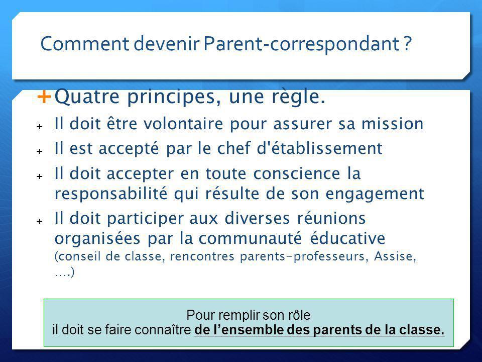 Comment devenir Parent-correspondant . Quatre principes, une règle.