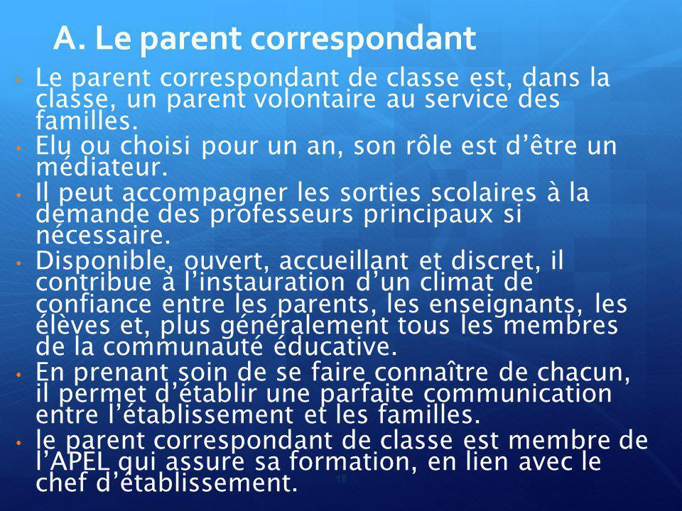 18 Le parent correspondant de classe est, dans la classe, un parent volontaire au service des familles.