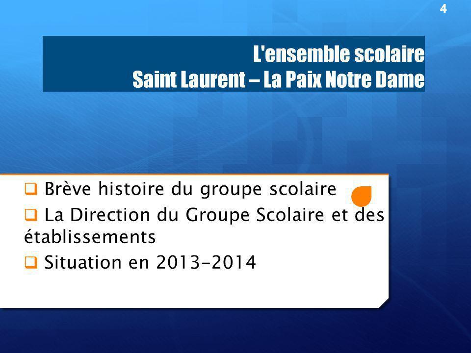 L ensemble scolaire Saint Laurent – La Paix Notre Dame  Brève histoire du groupe scolaire  La Direction du Groupe Scolaire et des établissements  Situation en 2013-2014 4