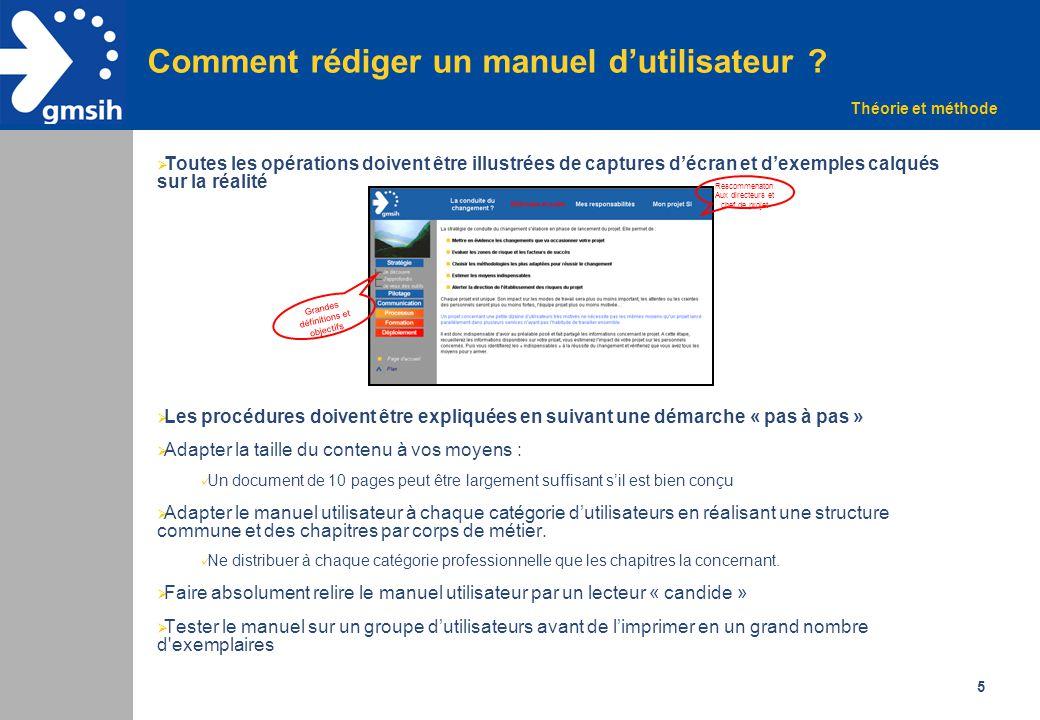 5 Comment rédiger un manuel d'utilisateur ?  Toutes les opérations doivent être illustrées de captures d'écran et d'exemples calqués sur la réalité 