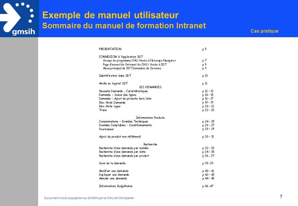 8 Exemple de manuel utilisateur Extrait d'un manuel de formation Intranet Cas pratique