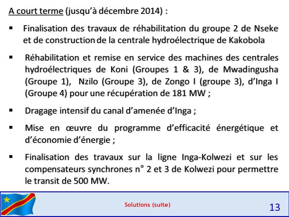 Solutions (suite) A court terme (jusqu'à décembre 2014) :A court terme (jusqu'à décembre 2014) :  Finalisation des travaux de réhabilitation du groupe 2 de Nseke et de construction de la centrale hydroélectrique de Kakobola  Réhabilitation et remise en service des machines des centrales hydroélectriques de Koni (Groupes 1 & 3), de Mwadingusha (Groupe 1), Nzilo (Groupe 3), de Zongo I (groupe 3), d'Inga I (Groupe 4) pour une récupération de 181 MW ;  Dragage intensif du canal d'amenée d'Inga ;  Mise en œuvre du programme d'efficacité énergétique et d'économie d'énergie ;  Finalisation des travaux sur la ligne Inga-Kolwezi et sur les compensateurs synchrones n° 2 et 3 de Kolwezi pour permettre le transit de 500 MW.