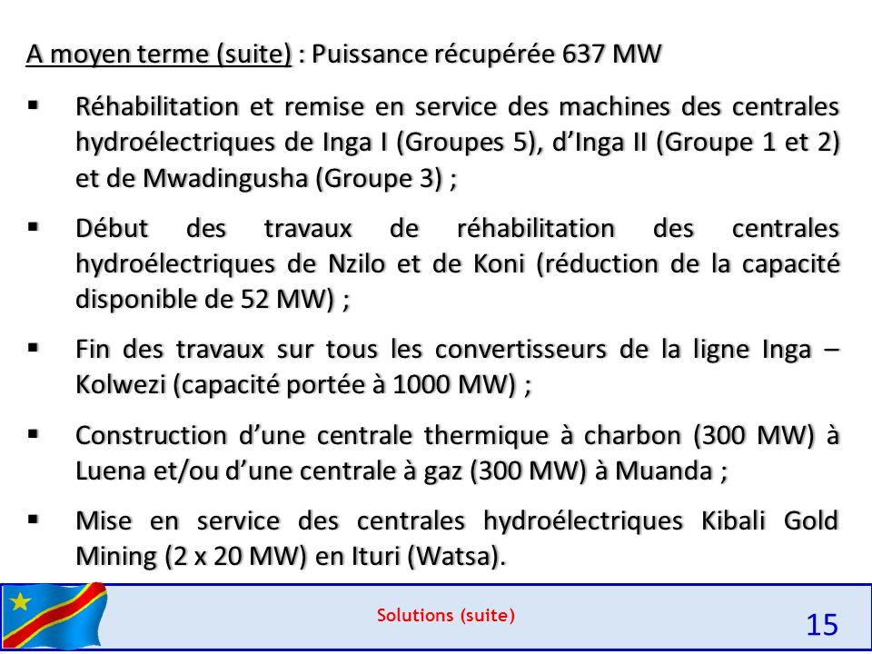 Solutions (suite) A moyen terme (suite) : Puissance récupérée 637 MWA moyen terme (suite) : Puissance récupérée 637 MW  Réhabilitation et remise en service des machines des centrales hydroélectriques de Inga I (Groupes 5), d'Inga II (Groupe 1 et 2) et de Mwadingusha (Groupe 3) ;  Début des travaux de réhabilitation des centrales hydroélectriques de Nzilo et de Koni (réduction de la capacité disponible de 52 MW) ;  Fin des travaux sur tous les convertisseurs de la ligne Inga – Kolwezi (capacité portée à 1000 MW) ;  Construction d'une centrale thermique à charbon (300 MW) à Luena et/ou d'une centrale à gaz (300 MW) à Muanda ;  Mise en service des centrales hydroélectriques Kibali Gold Mining (2 x 20 MW) en Ituri (Watsa).