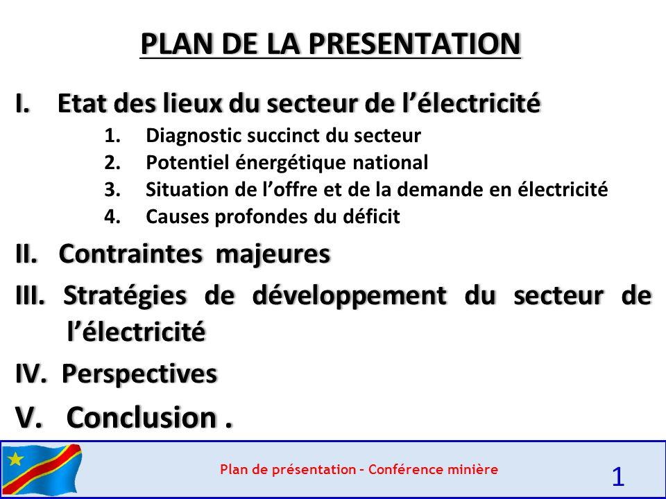 Plan de présentation – Conférence minière 1 PLAN DE LA PRESENTATIONPLAN DE LA PRESENTATION I.