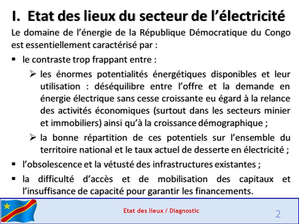 2 Etat des lieux / Diagnostic Le domaine de l'énergie de la République Démocratique du Congo est essentiellement caractérisé par :  le contraste trop frappant entre :  les énormes potentialités énergétiques disponibles et leur utilisation : déséquilibre entre l'offre et la demande en énergie électrique sans cesse croissante eu égard à la relance des activités économiques (surtout dans les secteurs minier et immobiliers) ainsi qu'à la croissance démographique ;  la bonne répartition de ces potentiels sur l'ensemble du territoire national et le taux actuel de desserte en électricité ;  l'obsolescence et la vétusté des infrastructures existantes ;  la difficulté d'accès et de mobilisation des capitaux et l'insuffisance de capacité pour garantir les financements.