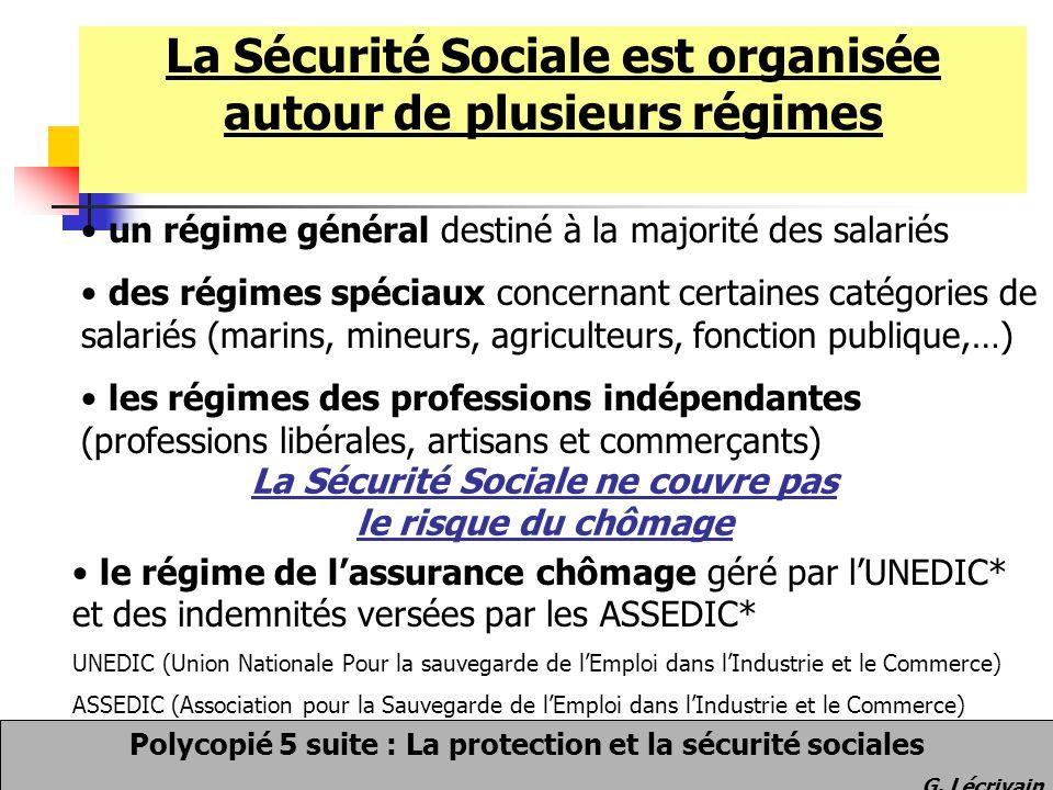 La Sécurité Sociale est organisée autour de plusieurs régimes Polycopié 5 suite : La protection et la sécurité sociales G. Lécrivain un régime général