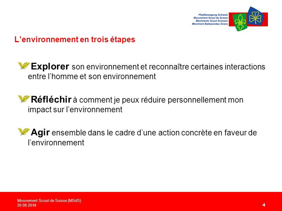 L'environnement en trois étapes Explorer son environnement et reconnaître certaines interactions entre l'homme et son environnement Réfléchir à comment je peux réduire personnellement mon impact sur l'environnement Agir ensemble dans le cadre d'une action concrète en faveur de l'environnement Mouvement Scout de Suisse (MSdS) 20.08.2014 4