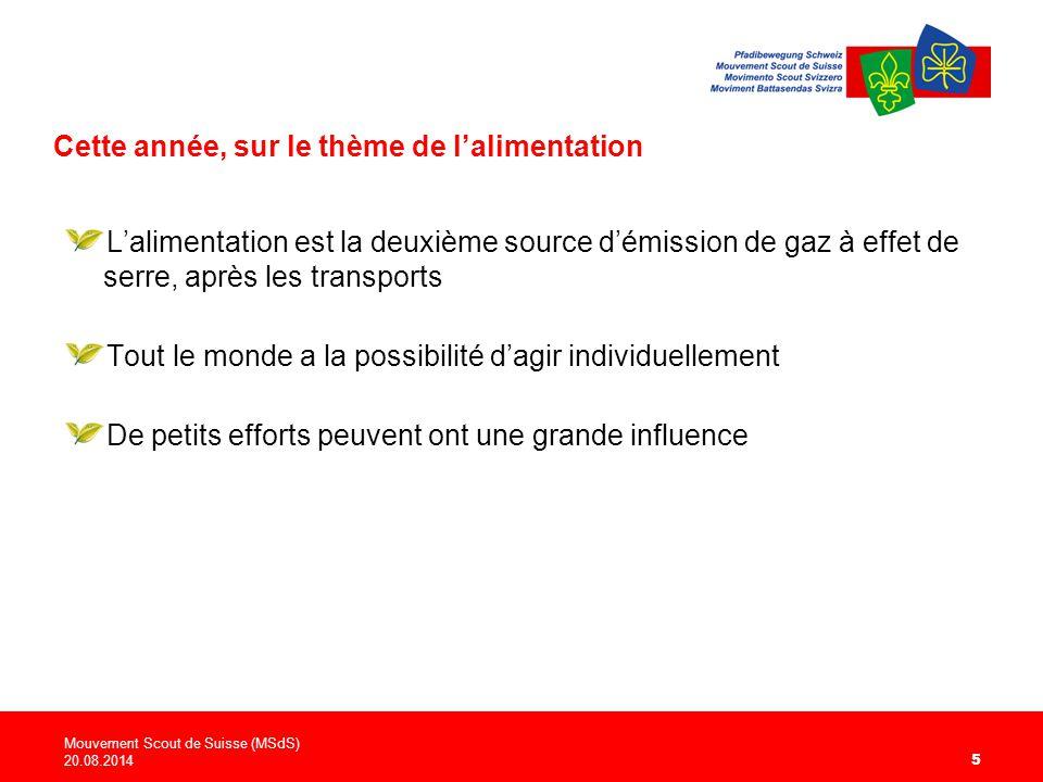 Cette année, sur le thème de l'alimentation Mouvement Scout de Suisse (MSdS) 20.08.2014 5 L'alimentation est la deuxième source d'émission de gaz à effet de serre, après les transports Tout le monde a la possibilité d'agir individuellement De petits efforts peuvent ont une grande influence