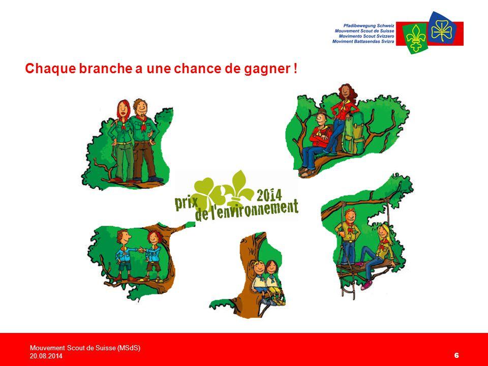 Mouvement Scout de Suisse (MSdS) 20.08.2014 6 Chaque branche a une chance de gagner !