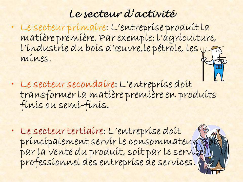 Le secteur d'activité Le secteur primaire: L'entreprise produit la matière première. Par exemple: l'agriculture, l'industrie du bois d'œuvre,le pétrol